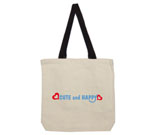 Cute and Happy Blue with Hearts Cotton Canvas contrasting handle