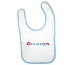 Cute and Happy Blue with Hearts Baby Bib