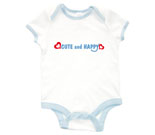 Cute and Happy Blue with Hearts Baby Rib 2 Tone One Piece‏