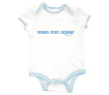 Cute and Happy Blue Baby Rib 2 Tone One Piece‏