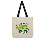 Green Love Panda Abstract Cotton Canvas with contrasting