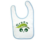 Green Love Panda Abstract Baby Bib