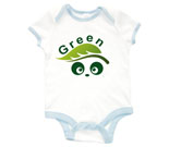 Green Love Panda Abstract Baby Rib 2 Tone One Piece‏