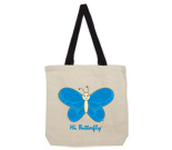 Hi Butterfly Blue Cotton Canvas with contrasting handles bag