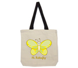 Hi Butterfly Yellow Cotton Canvas with contrasting handles bag