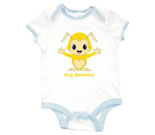 Hug Monsters Yellow Baby Rib 2 Tone One Piece‏