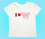 I Love Hi Butterfly Pink Toddler's Jersey T-Shirt