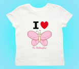 I Love Hi Butterfly Pink Vertical Toddler's Jersey T-Shirt
