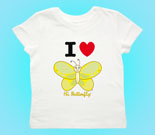 I Love Hi Butterfly Yellow Vertical Toddler's Jersey T-Shirt