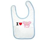 I Love Hi Butterfly Pink Baby Bib