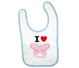 I Love Hi Butterfly Pink Vertical Baby Bib
