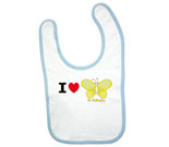 I Love Hi Butterfly Yellow Baby Bib