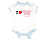 I Love Hi Butterfly Pink Baby Rib 2 Tone One Piece
