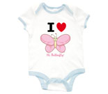 I Love Hi Butterfly Pink Vertical Baby Rib 2 Tone One Piece‏