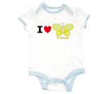I Love Hi Butterfly Yellow Baby Rib 2 Tone One Piece