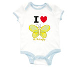 I Love Hi Butterfly Yellow Vertical Baby Rib 2 Tone One Piece