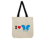 I Love Hi Butterfly Blue Cotton Canvas with contrasting handles