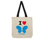 I Love Hi Butterfly Blue Vertical Cotton Canvas with contrasting