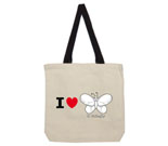 I Love Hi Butterfly Black and White Cotton Canvas with contrasti