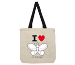 I Love Hi Butterfly Black and White Vertical Cotton Canvas with