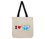 I Love Hi Butterfly Color Cotton Canvas with contrasting handles