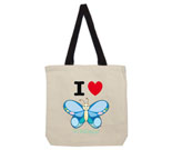 I Love Hi Butterfly Color Vertical Cotton Canvas with contrastin