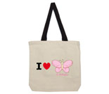 I Love Hi Butterfly Pink Cotton Canvas with contrasting handles