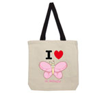 I Love Hi Butterfly Pink Vertical Cotton Canvas with contrasting