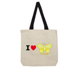 I Love Hi Butterfly Yellow Cotton Canvas with contrasting handle