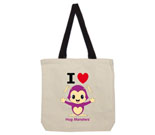 I Love Hug Monsters Vertical Purple Cotton Canvas - contrast