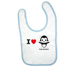 I Love Hug Monsters Horizontal Black Boy Baby Bib