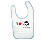 I Love Hug Monsters Horizontal Black Head Boy Baby Bib