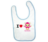 I Love Hug Monsters Horizontal Pink Boy Baby Bib