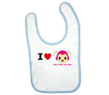 I Love Hug Monsters Horizontal Pink Head Boy Baby Bib