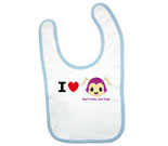 I Love Hug Monsters Horizontal  Purple Head Boy Baby Bib