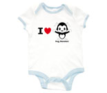 I Love Hug Monsters Horizontal Black Baby Rib 2 Tone One Piece‏