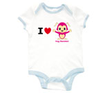 I Love Hug Monsters Horizontal Pink Baby Rib 2 Tone One Pi