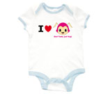 I Love Hug Monsters Horizontal Pink Head Baby Rib 2 Tone One Pi