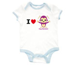 I Love Hug Monsters Horizontal Purple Baby Rib 2 Tone One Pi