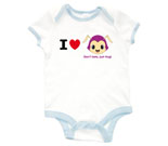I Love Hug Monsters Horizontal Purple Head Baby Rib 2 Tone One P
