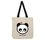 Love Panda Boy Head Cotton Canvas contrasting handle bag