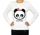Love Panda Boy Head Baby Rib Long Sleeve