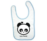 Love Panda Boy Head Black and White Baby Bib