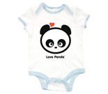 Love Panda Boy Head  Baby Rib 2 Tone One Piece‏