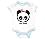 Love Panda Boy Head  Baby Rib 2 Tone One Piece