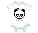 Love Panda Boy Head Black and White Baby Rib 2 Tone One Piece