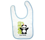 Love Panda Boy Standing with Bamboo Tree Baby Bib