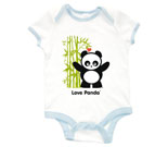Love Panda Boy Standing with Bamboo Tree Baby Rib 2 Tone One Pie