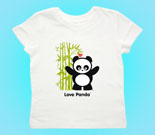 Love Panda Boy Standing with Bamboo Tree Toddler's Jersey T-Shir