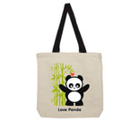 Love Panda Boy Standing with Bamboo Tree Cotton Canvas contrasti